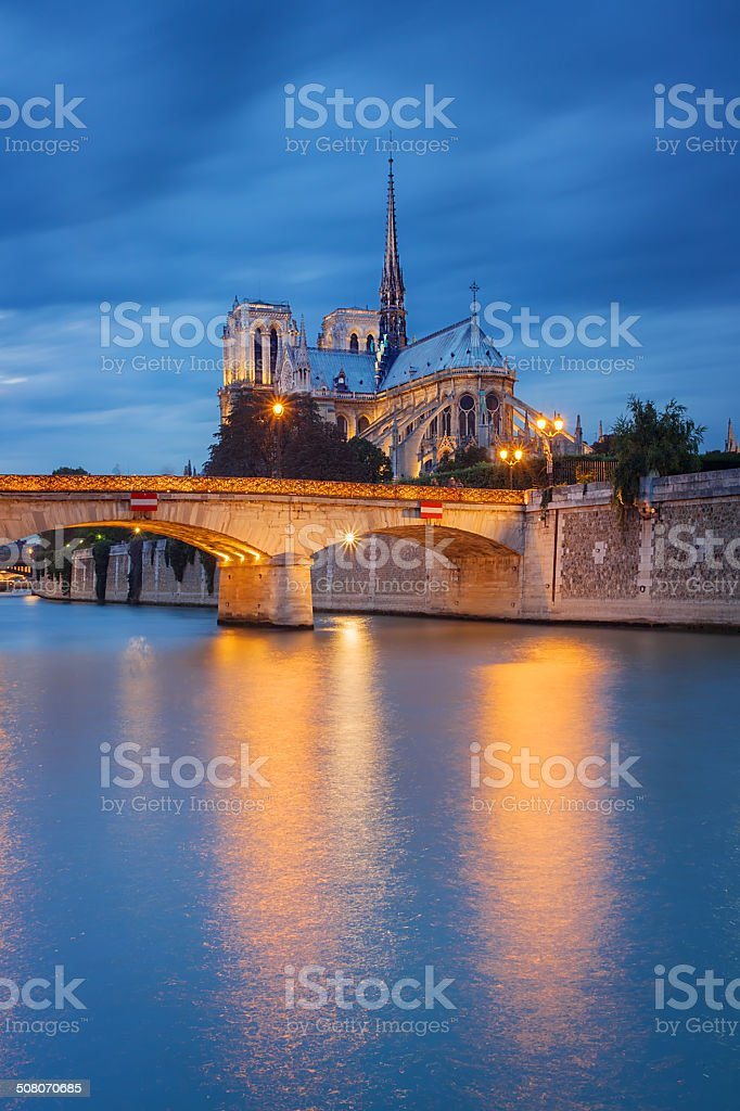 Notre Dame de Paris at sunset stock photo