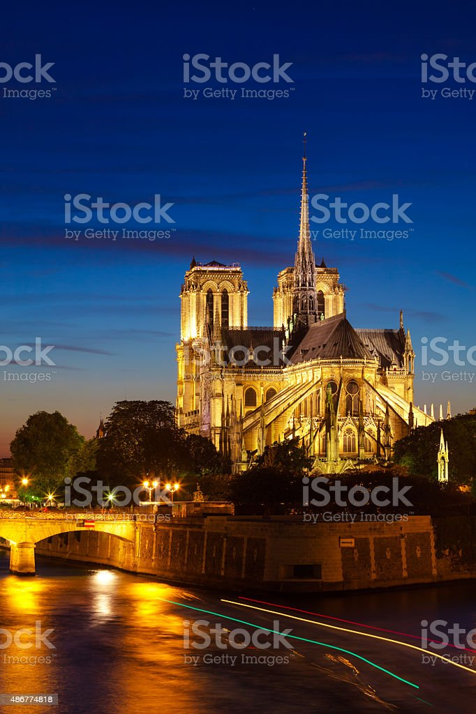 Notre Dame de Paris Cathedral at night, Paris, France royalty-free stock photo