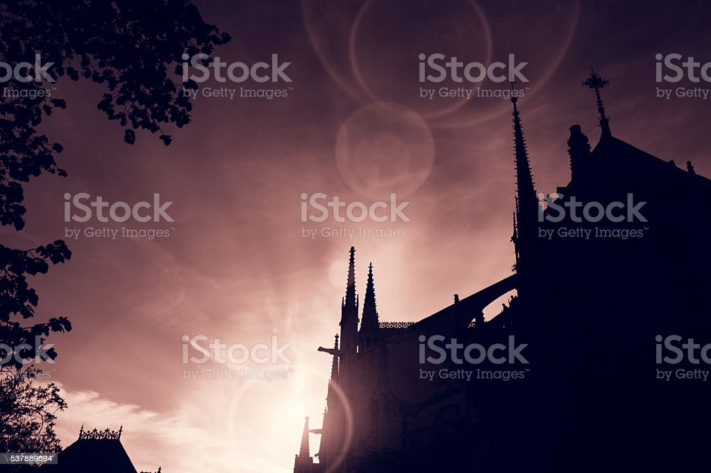 Notre Dame de Paris cathedral at sunset stock photo