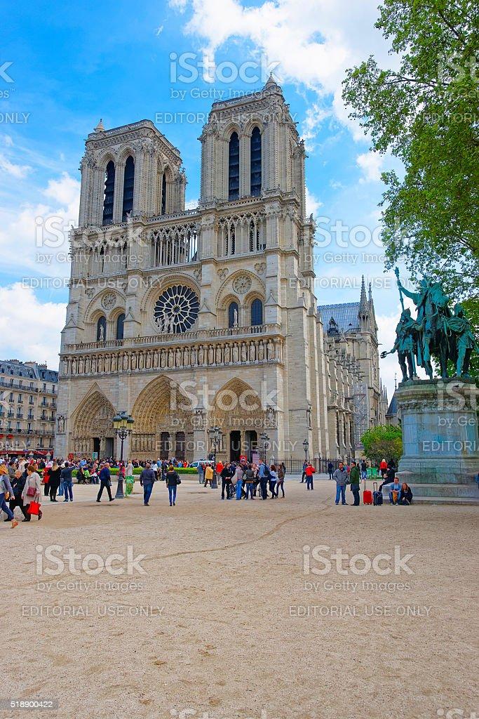 Notre Dame de Paris Cathedral in France stock photo