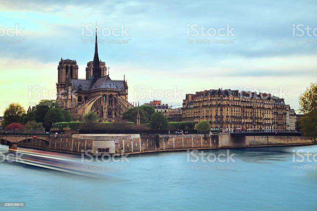 Notre Dame de Paris, day-long exposure (50 mp) stock photo