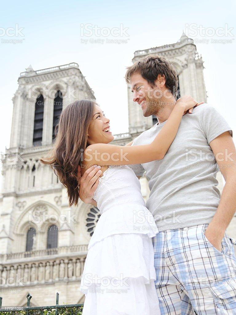 Notre Dame de Paris - happy couple stock photo