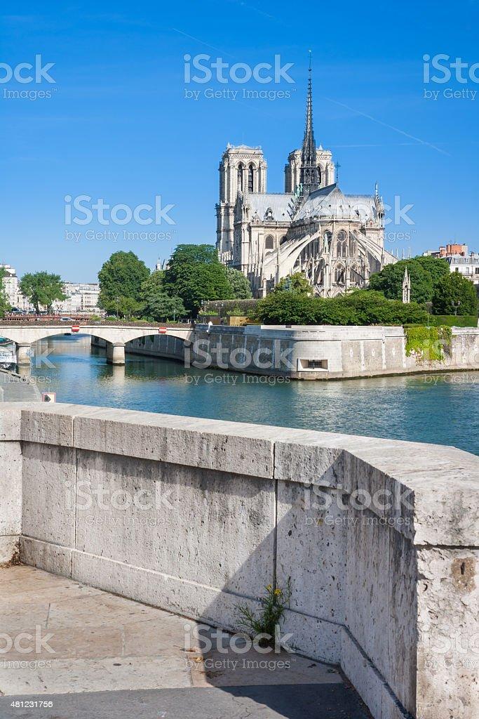 Notre Dame de Paris on the River Seine, Paris, France royalty-free stock photo
