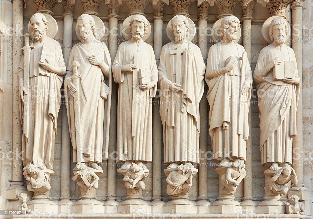 Notre Dame de Paris statues of saints stock photo