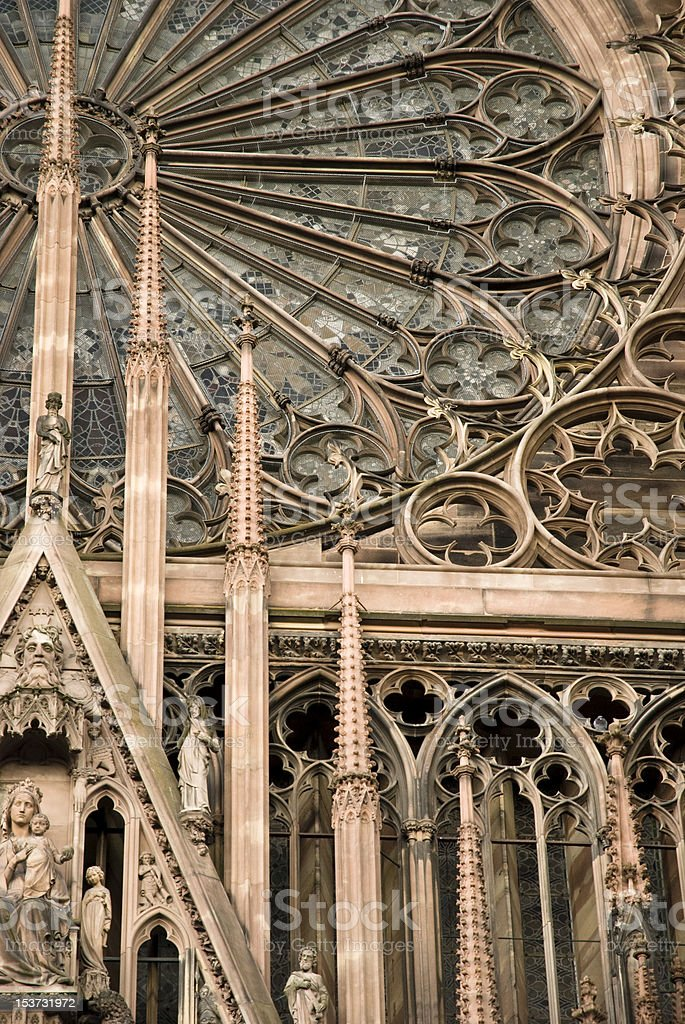Notre Dame de Strasbourg window detail. stock photo