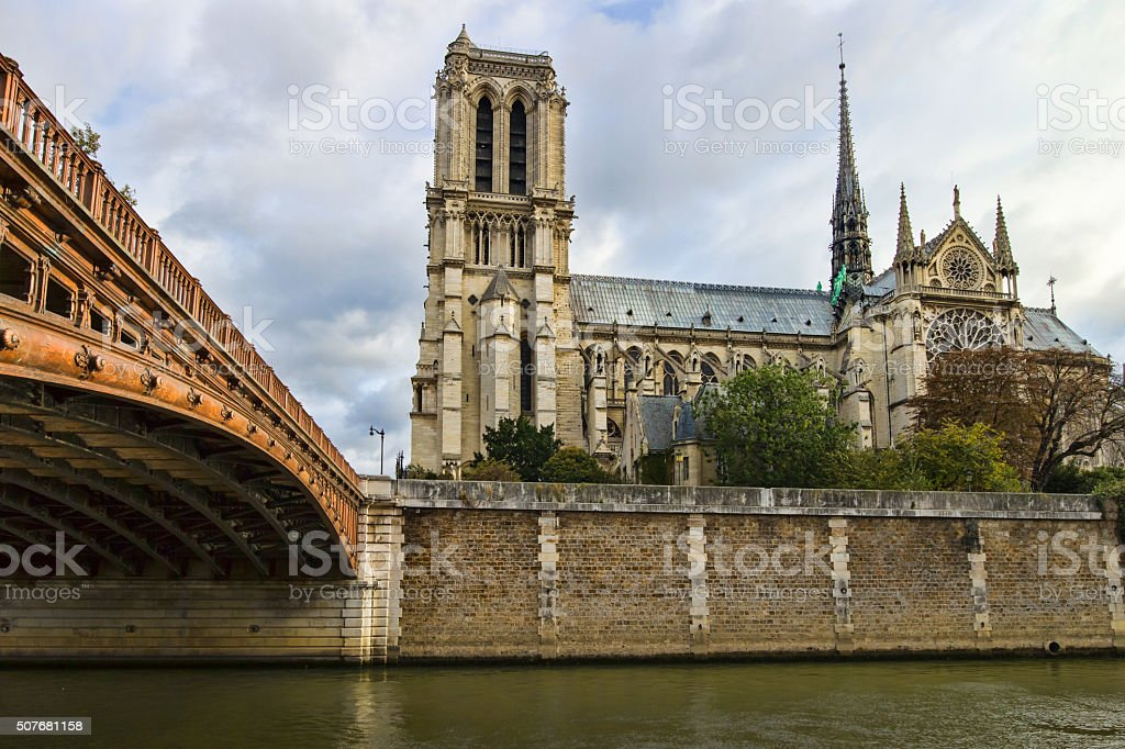 Notre Dame from the left bank, Paris stock photo