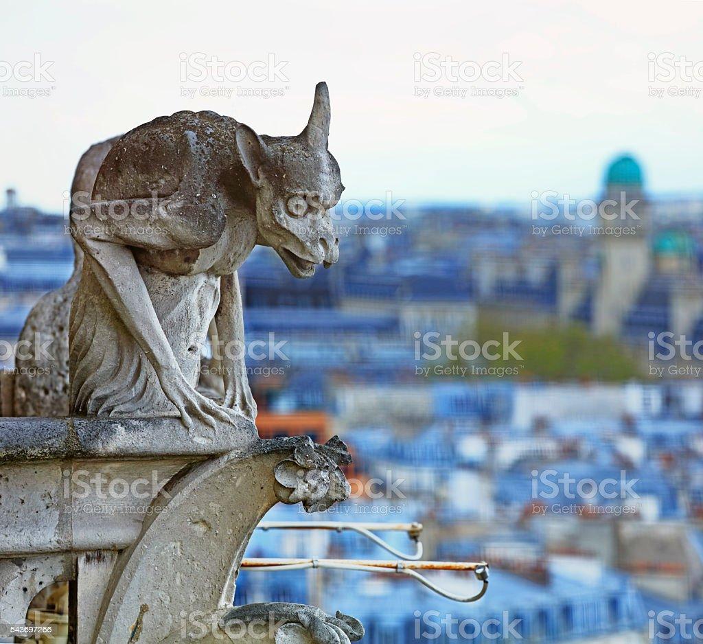 Notre Dame: Gargoyle Statue stock photo