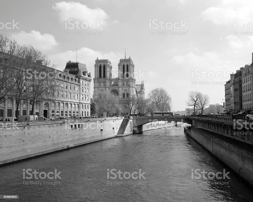 Notre Dame in Black and White royalty-free stock photo