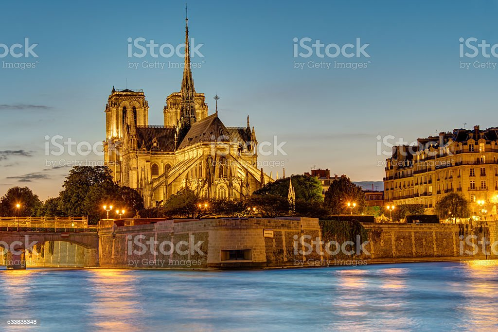 Notre Dame in Paris at dawn stock photo
