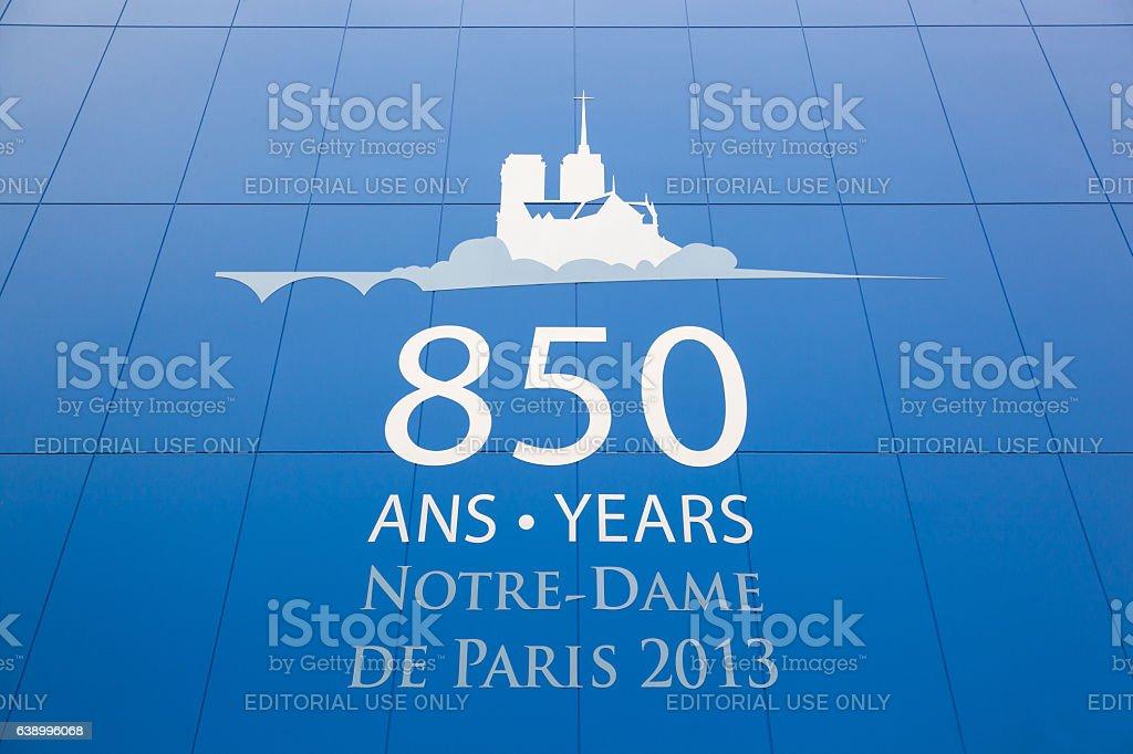 Notre Dame in Paris celebrates 850 years. stock photo