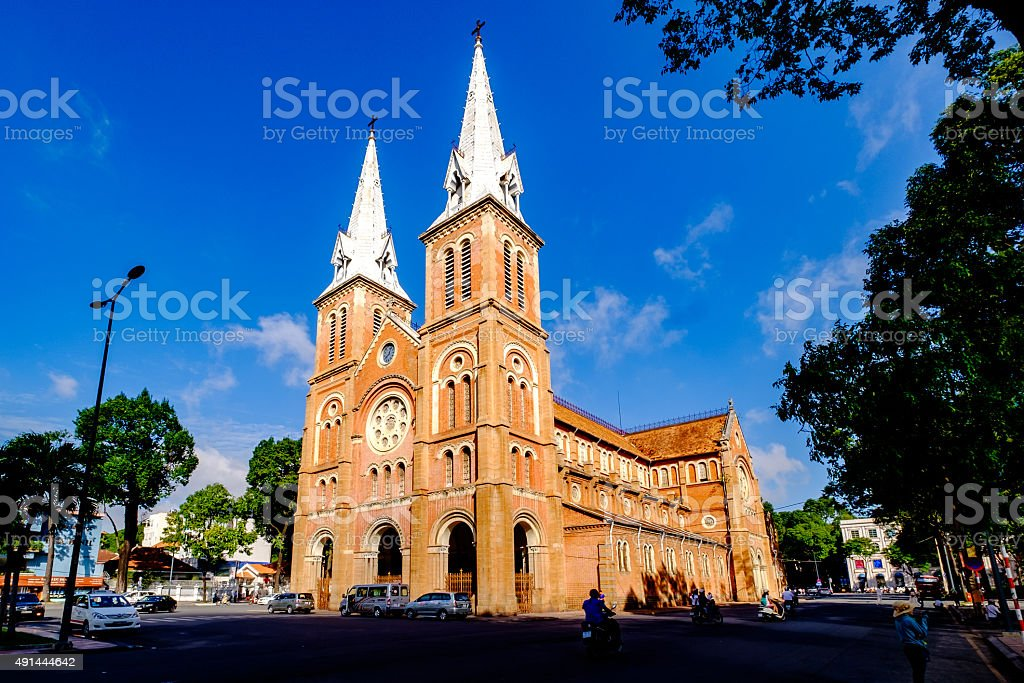 Notre Dame in Sai Gon on morning stock photo