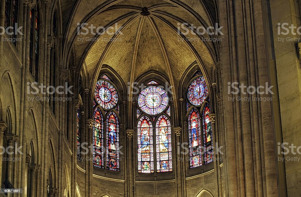 Notre Dame interior royalty-free stock photo