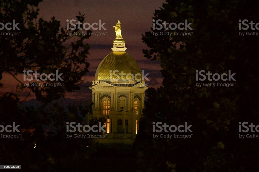 Notre Dame Main Building at Night stock photo