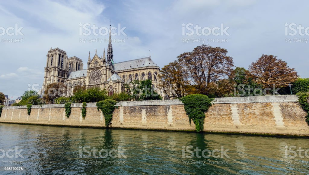 Notre Dame panoramic stock photo
