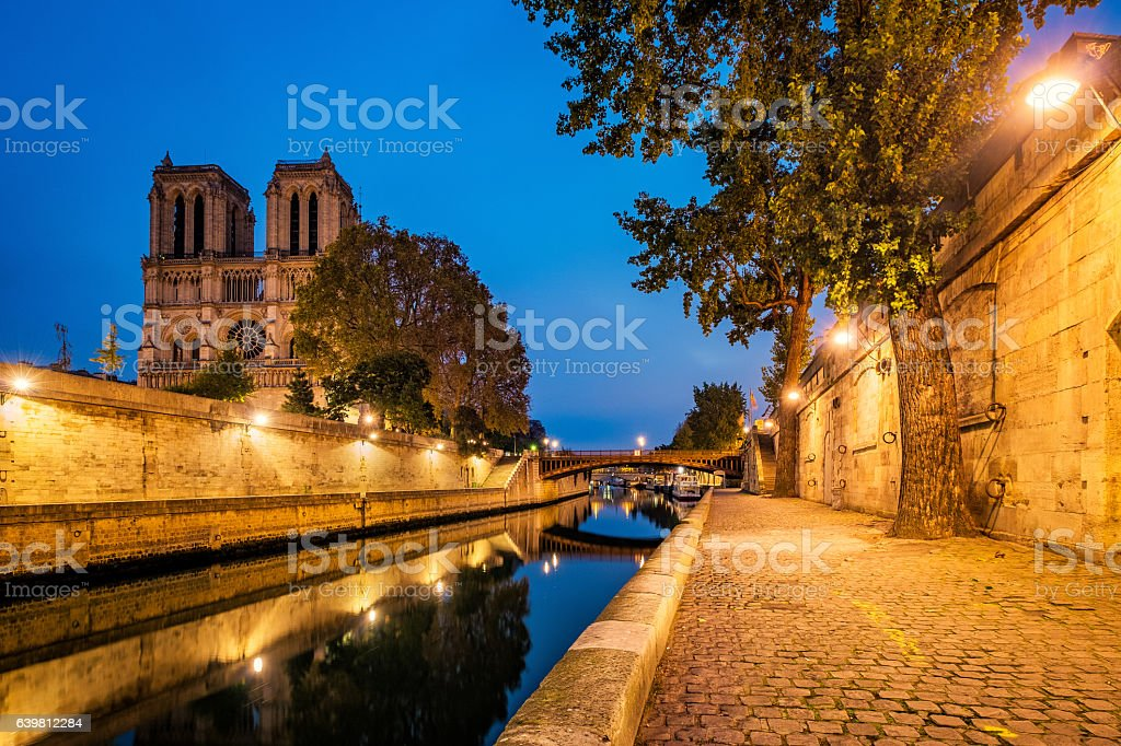 Notre Dame, Paris and River Seine stock photo