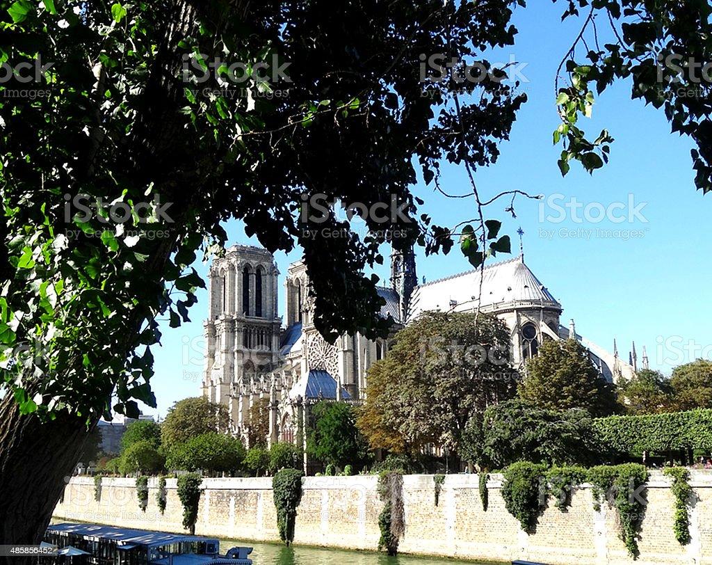 Notre Dame Paris by Seine River stock photo
