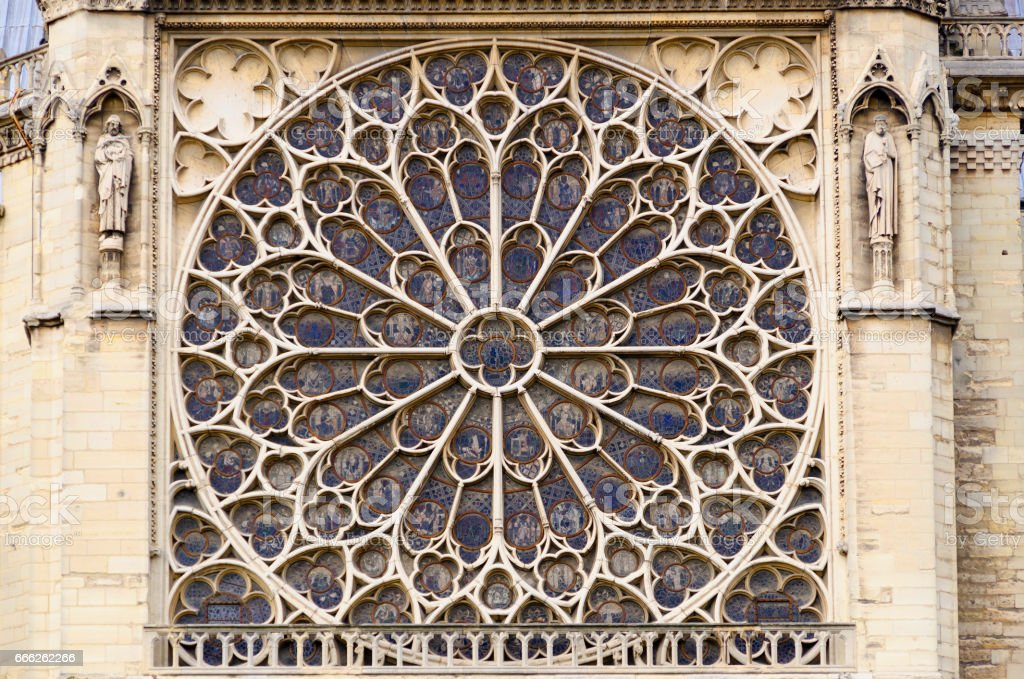 Notre Dame Rose window stock photo