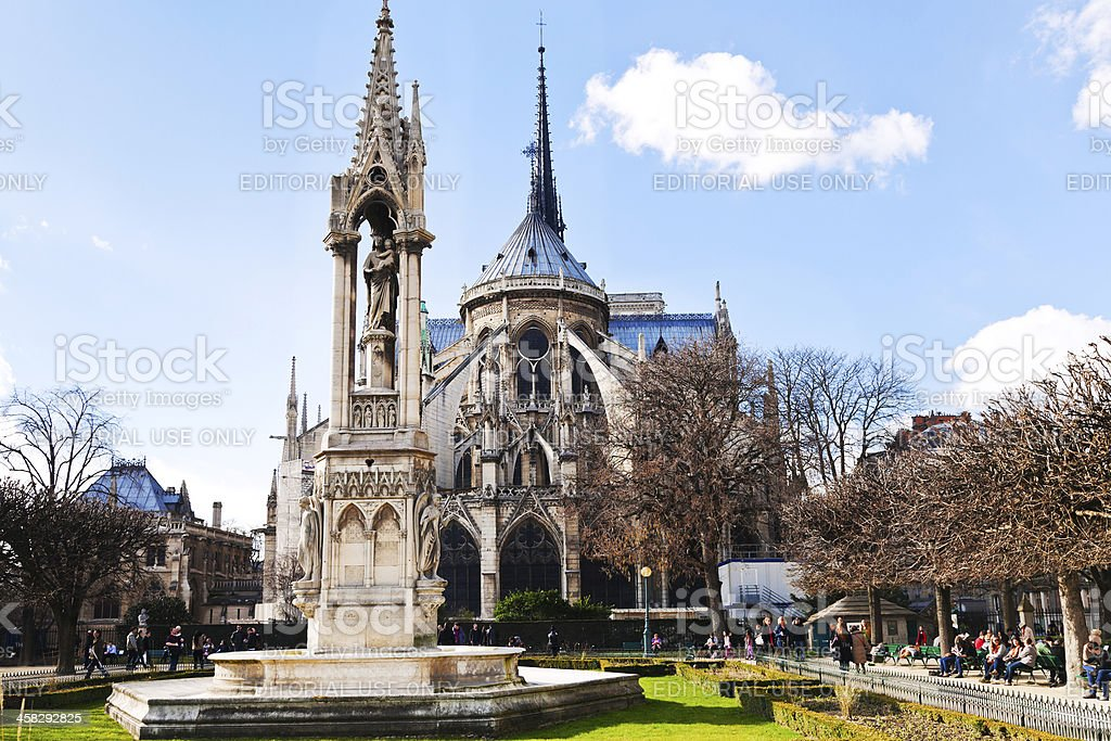Notre-Dame and Fountain of Archdiocese in Paris stock photo