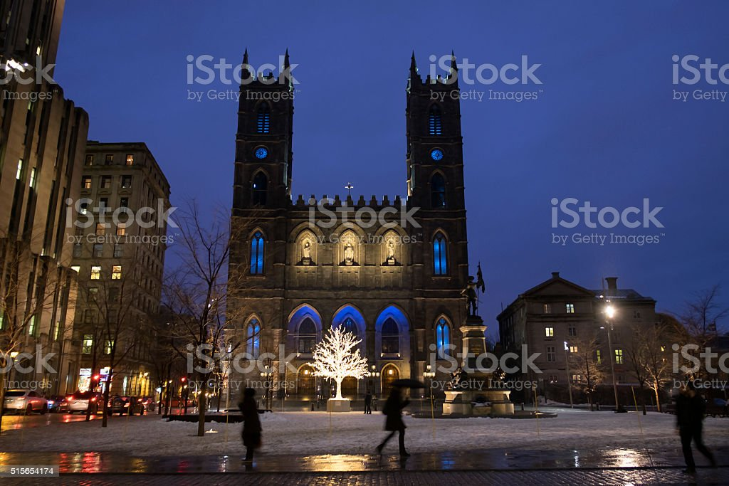 Notre-Dame Basilica in Montreal, Quebec stock photo