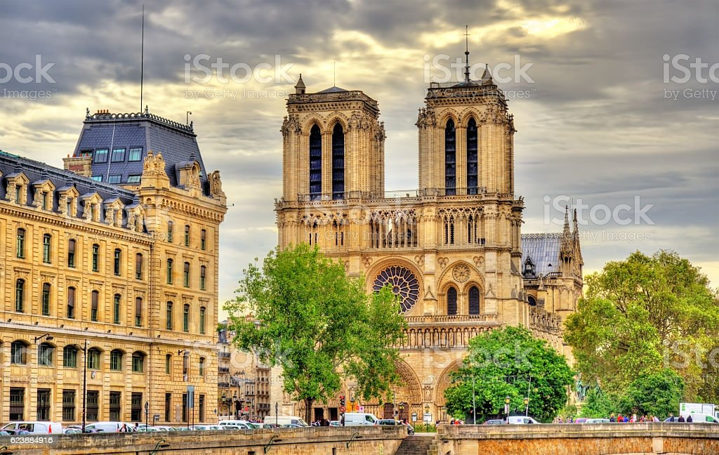 Notre-Dame Cathedral in Paris - France stock photo