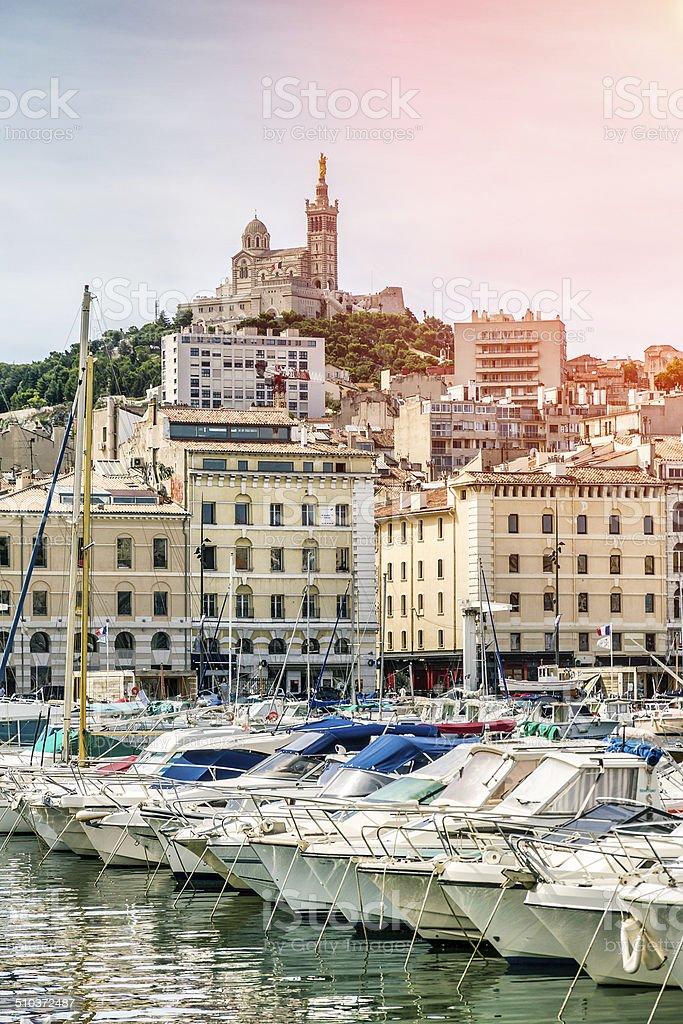 Notre-Dame de la Garde from the Vieux Port of Marseille stock photo