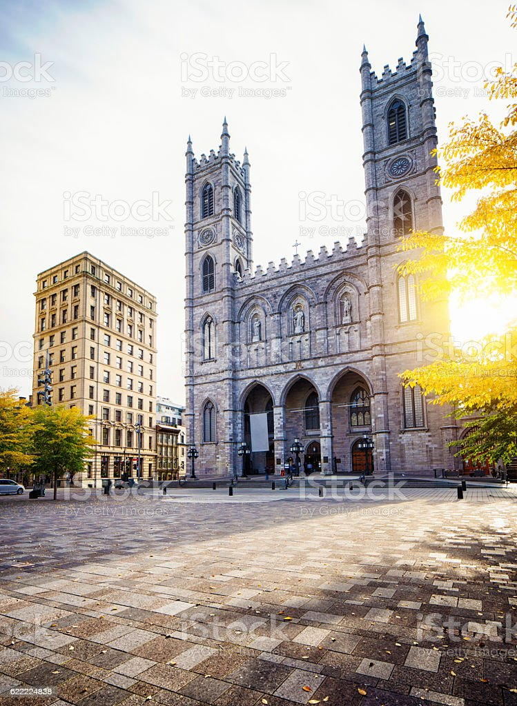 Notre-Dame de Montreal facade on sunny Autumn morning stock photo