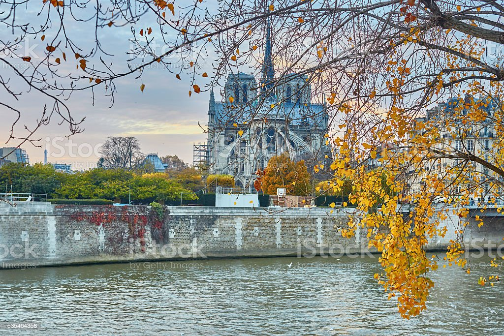 Notre-Dame de Paris on a bright fall day stock photo