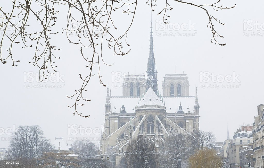 Notre-Dame de Paris on a snowy day royalty-free stock photo