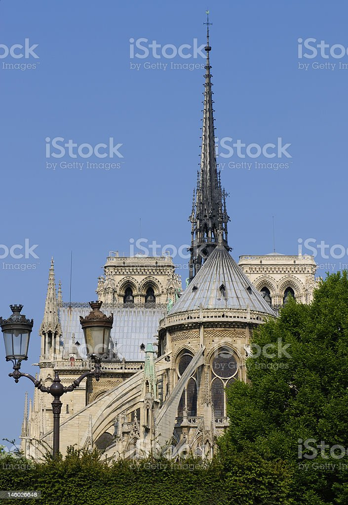 Notre-Dame de Paris through the square Jean XXIII royalty-free stock photo