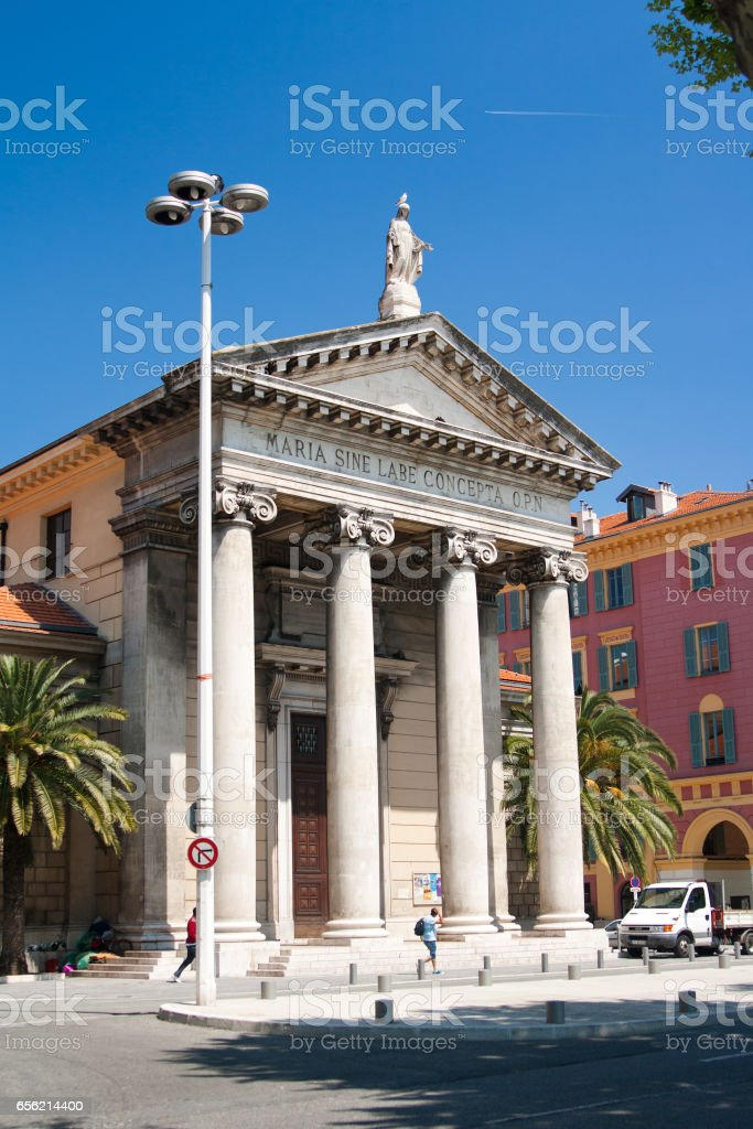 Notre-Dame du Port Church in Nice. Nice, French Riviera, France. stock photo