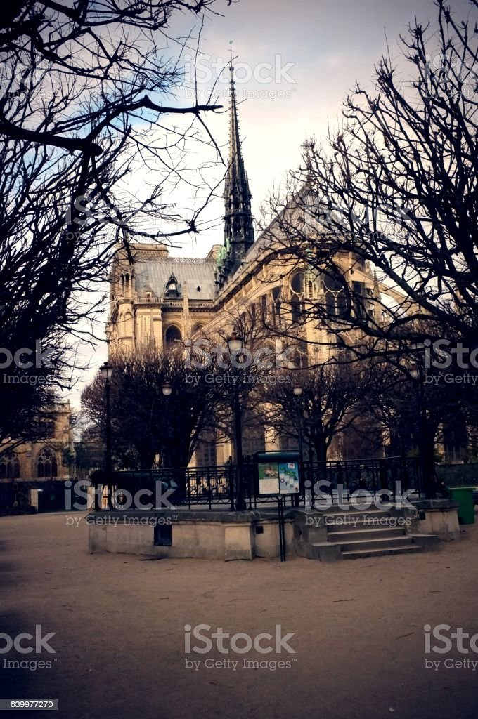 Notre-Dame: east side of the cathedral stock photo