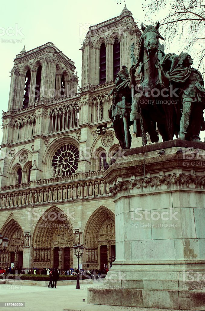 Notre-Dame in Paris, Charlemagne statue stock photo