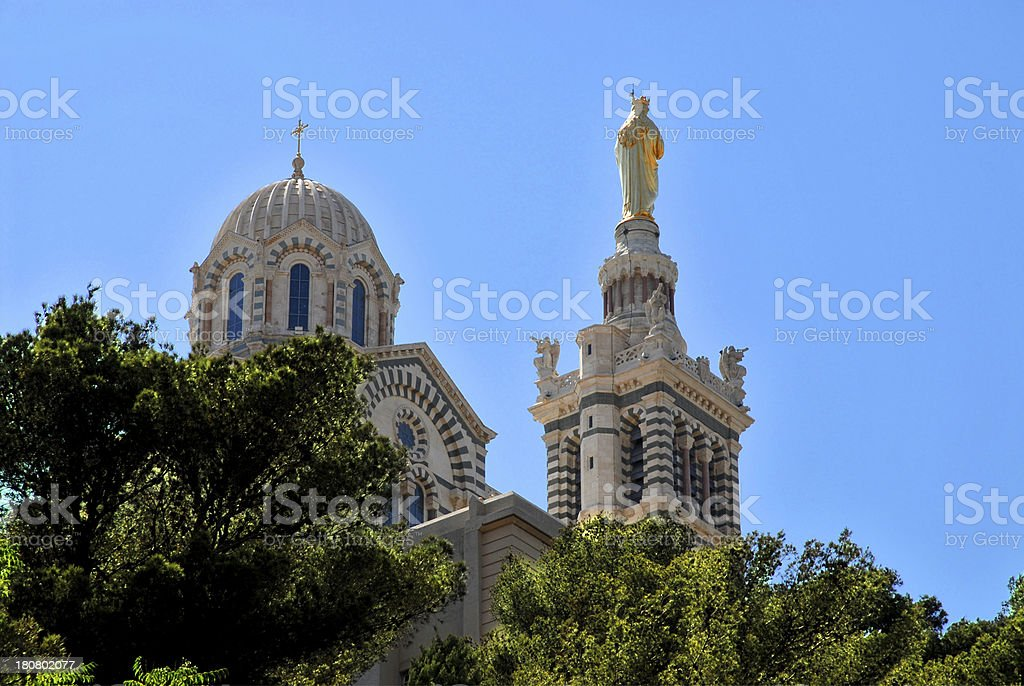 Notre-Dame-de-la-Garde in Marseille royalty-free stock photo