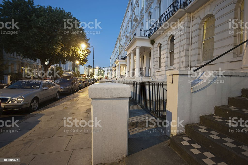 Notting Hill street at night stock photo