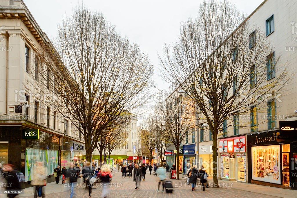 Nottingham Christmas shoppers stock photo