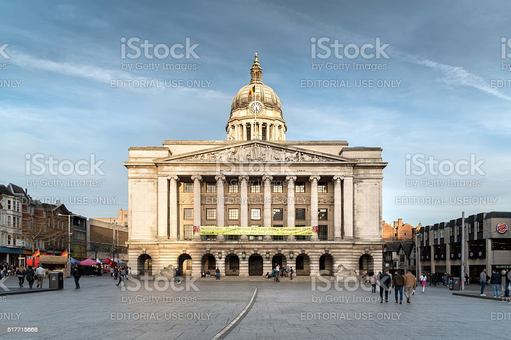 Nottingham Council House with Pedestrians shot from front stock photo