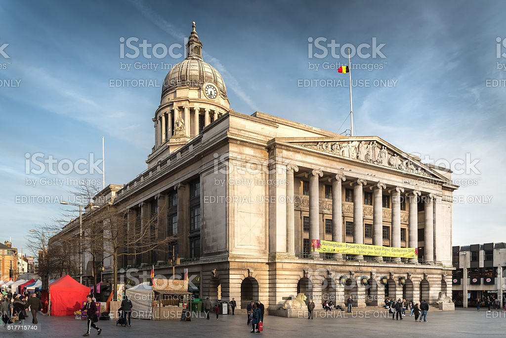 Nottingham Council House with Pedestrians shot from side stock photo