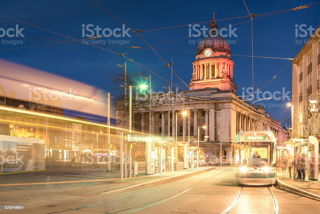 Nottingham Council House with Tram shot at Twilight stock photo