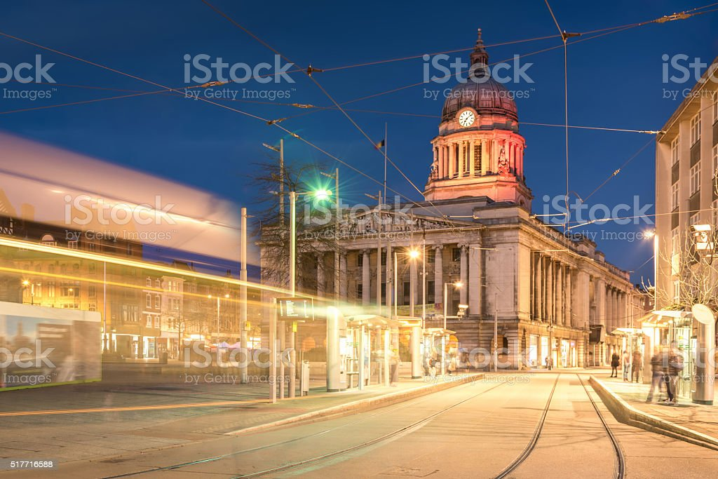 Nottingham Council House without Tram shot at Twilight stock photo