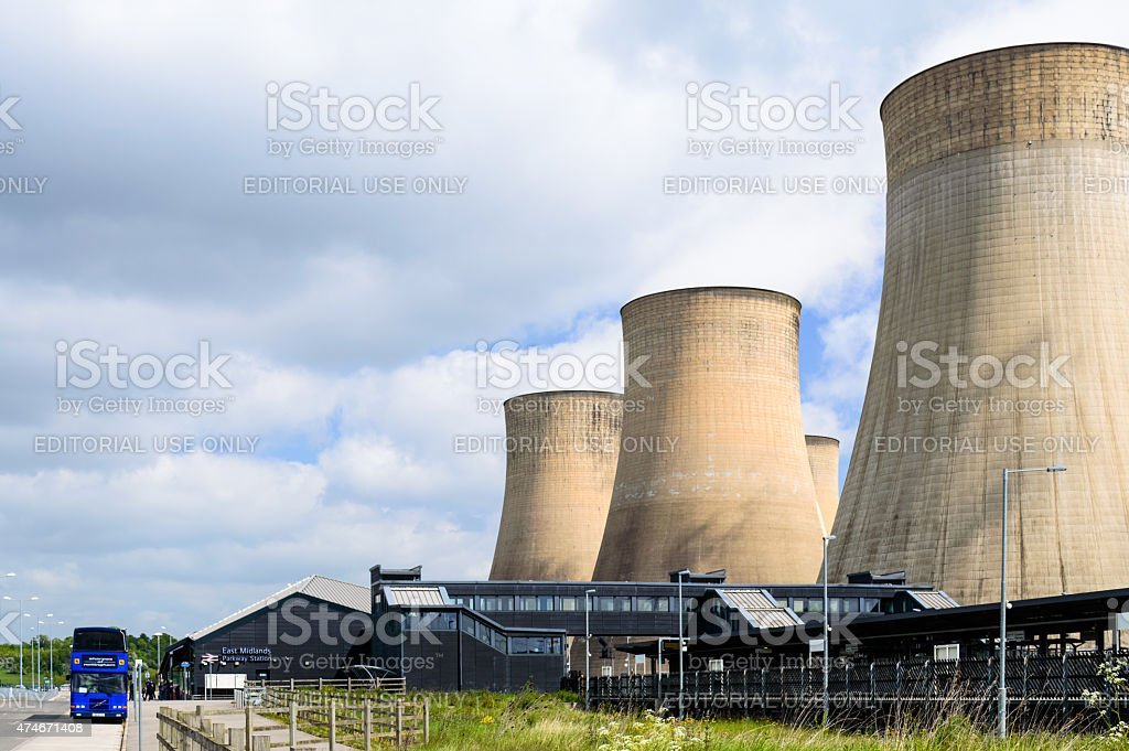 Nottingham East Midlands Parkway Train Station and cooling tower stock photo
