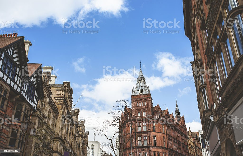 Nottingham historic city center stock photo