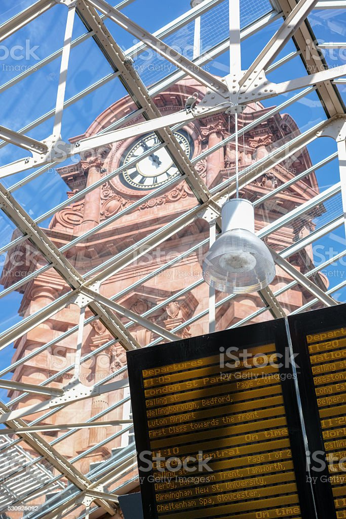 Nottingham railway station Victorian clock tower. stock photo