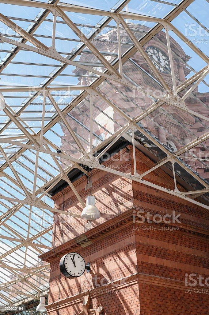 Nottingham railway station Victorian clock tower. stock photo