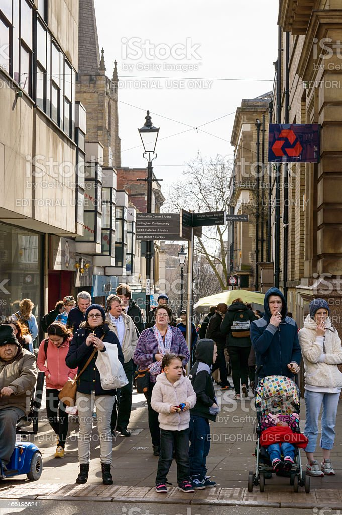 Nottingham shoppers on Exchange Walk stock photo