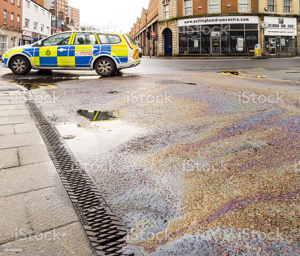 Nottinghamshire Police vehicle in attendance at diesel spill incident stock photo
