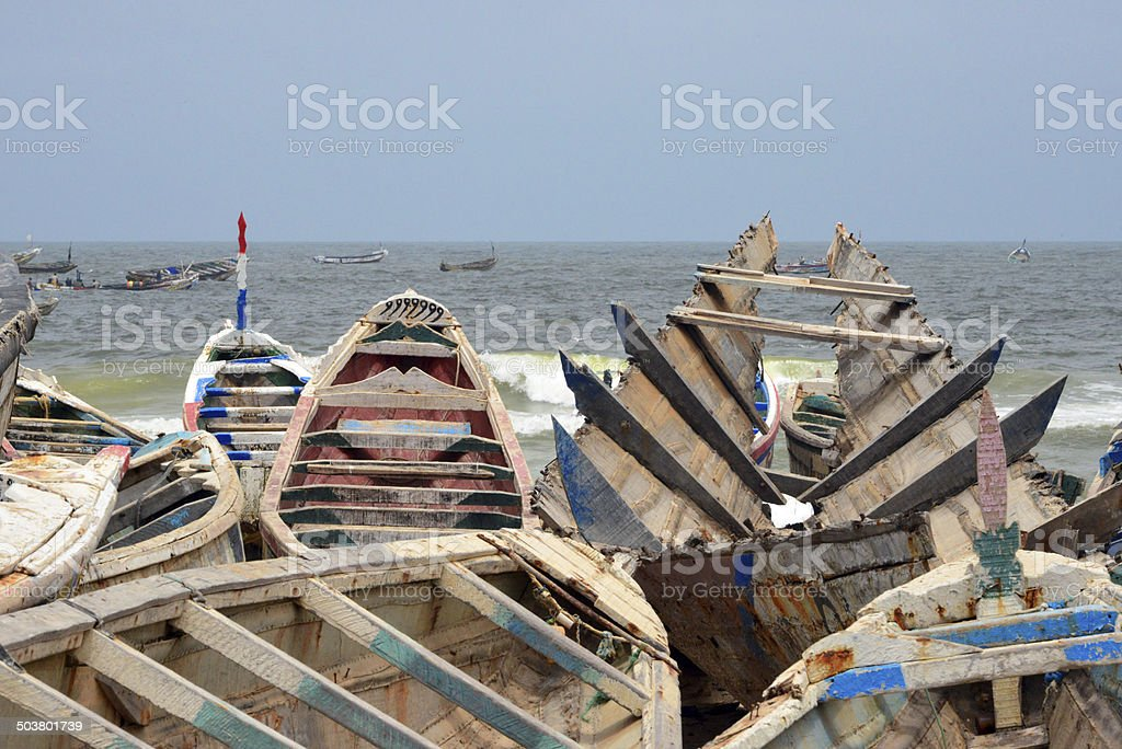 Nouakchott, Mauritania: fishing harbor stock photo