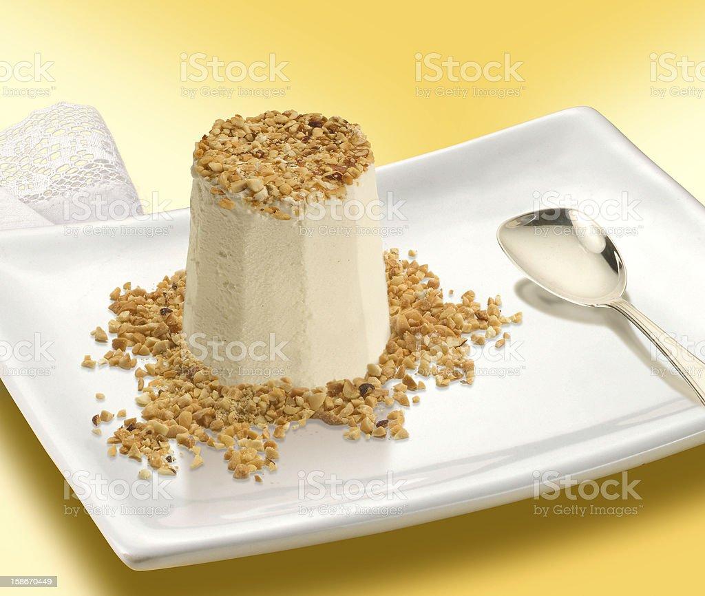 nougat semifreddo, italian dessert stock photo