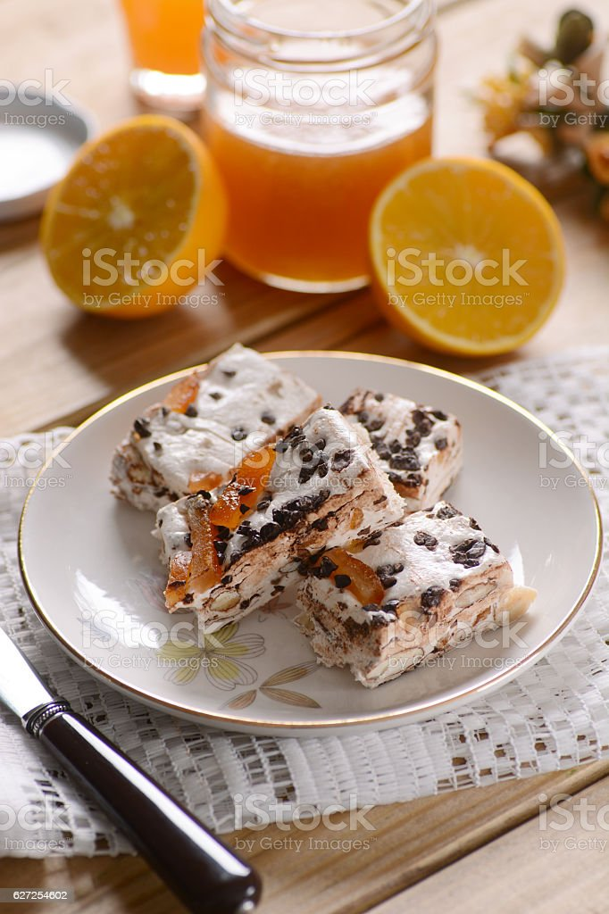 nougat with almonds and orange stock photo