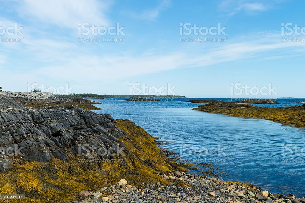 Nova Scotia coastline near Lunenburg, Blue Rocks village stock photo