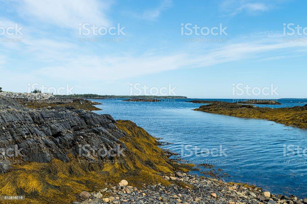 Nova Scotia coastline near Lunenburg, Blue Rocks village stock photo